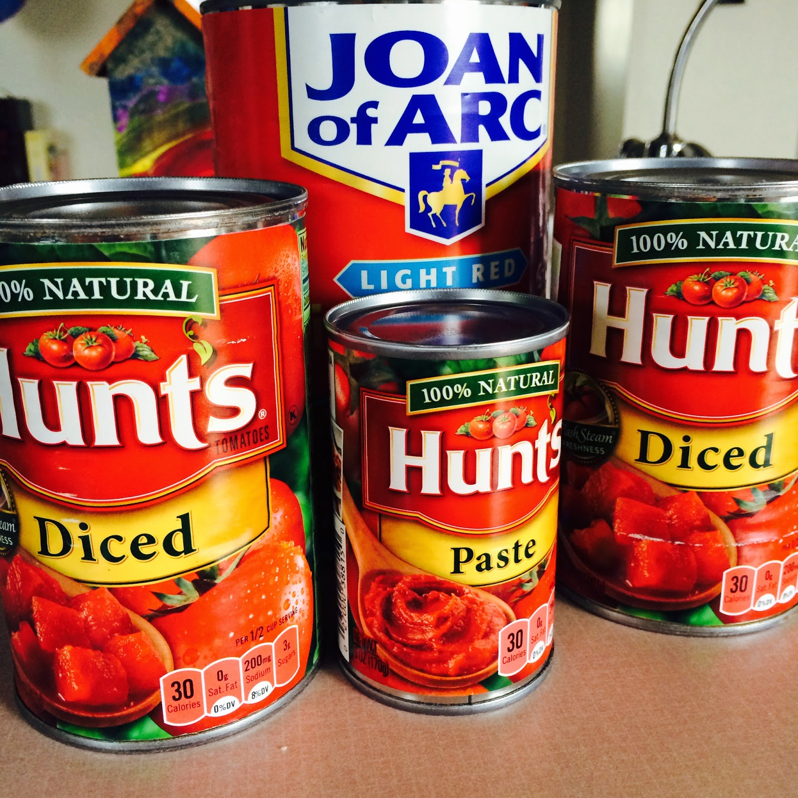 Hunt's diced tomatoes & tomato paste. Joan of Arc Kidney Beans.