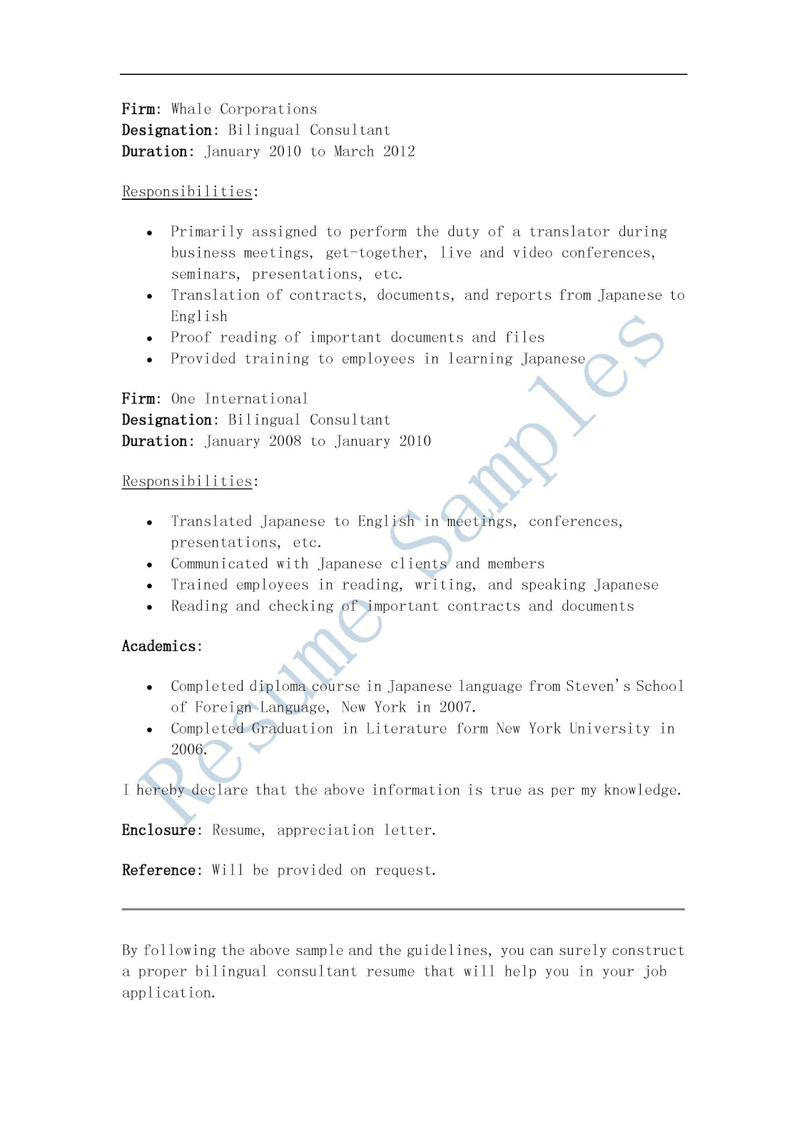 in resume bilingual in resume