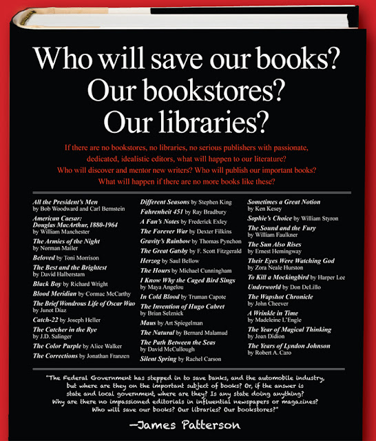 james patterson ad - who will save our books
