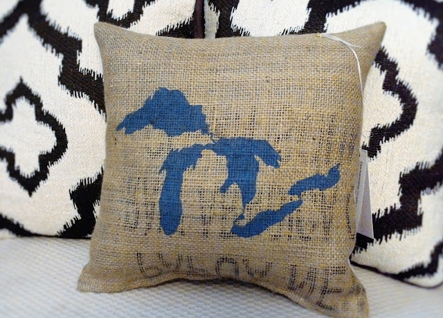 Great Lakes burlap pillow - Lina and Vi