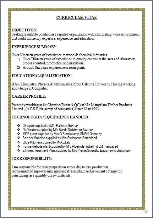 Quality Control Chemist Resume 28.05.2017