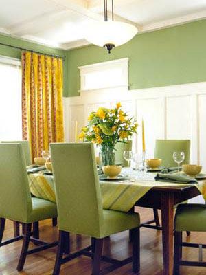 decoración en amarillo y verde