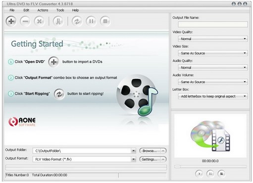 Aone Ultra DVD to FLV Converter v4.3.0718