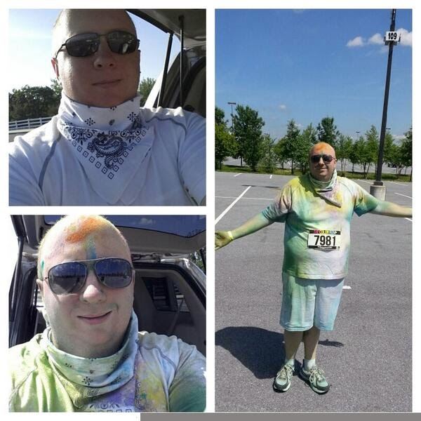Before and after Color Run.