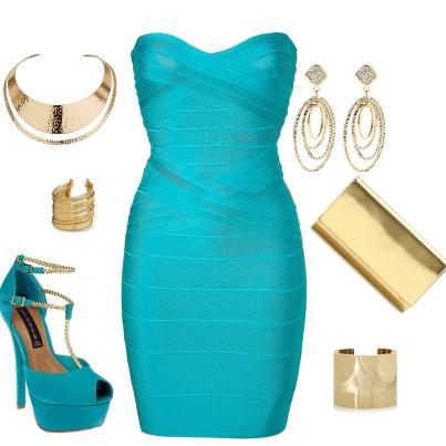 Light blue stylish fashion dress and shoes with jewelry