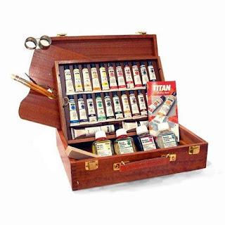 maletin con herramientas para la pintura al oleo