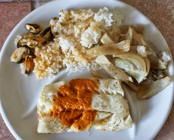 Les recett jo dos de cabillaud moules fenouil et riz for Cabillaud fenouil