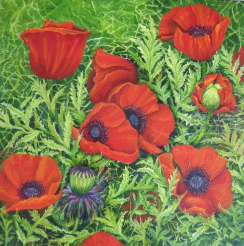 Garden patterns II 2010 Margaret Ryall mixed media on cradled panel red poppies