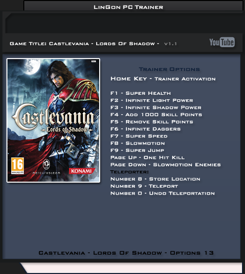 Castlevania Lords Of Shadow v1.1 +13 Trainer [LinGon]