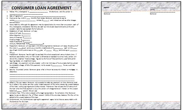personal loan agreement template free .