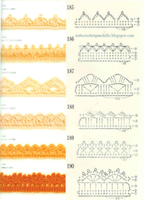 puntillas crochet con diagramas y muestras para descargar
