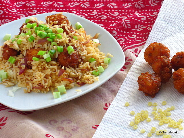 Pasta Manchurian in Fried Rice