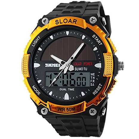 Readeel Solar Energy Watches Men Sports Fashion Casual Quartz Watch Digital & Analog Multifunctional Waterproof Student Men Sports LED Watches Gold Case
