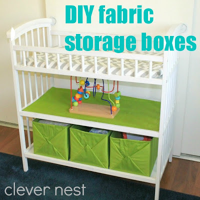 no sew fabric storage boxes, from cardboard boxes and curtains! #nursery #baby #free #chevron #lime #storage