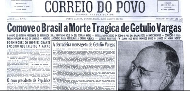 Jornal noticiando o suicídio do presidente