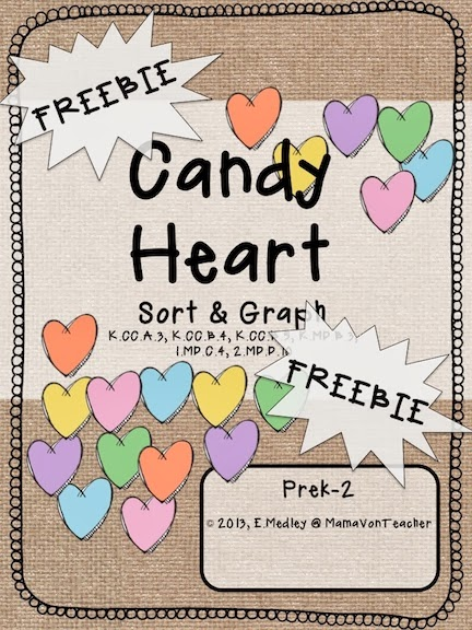 http://www.teacherspayteachers.com/Product/FREEBIE-Candy-Heart-Math-Sorting-Graphing-Match-Center-PreK-K-520776
