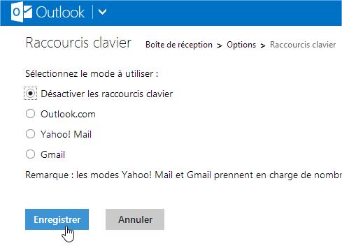 capture d'écran Outlook.com