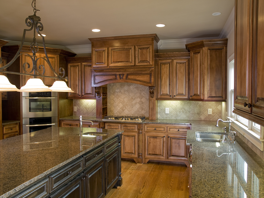 Stone Granite Countertop Island Mixed With Dark Granite Countertop On