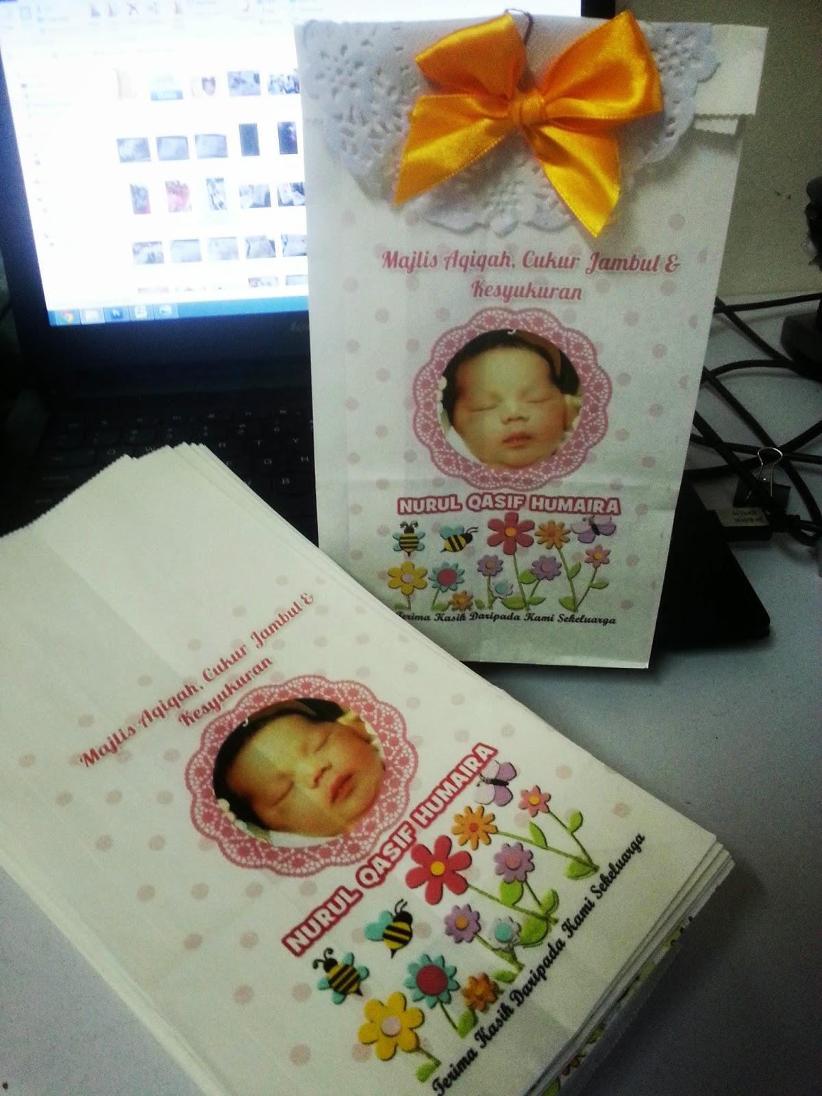 Printed paper bag untuk majlis aqiqah ini juga custom made for Idea doorgift untuk aqiqah
