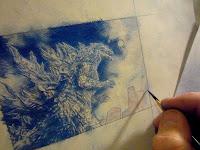 Jeff Lafferty Painting a Godzilla Sketch Card