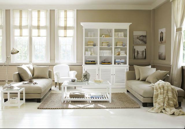 Salón colonial nórdico beige y blanco