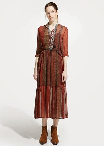 Mango 2015 Elbise Modelleri  eski tarz pastel renk uzun elbise, kovboy elbise, retro elbise ,etnik elbise