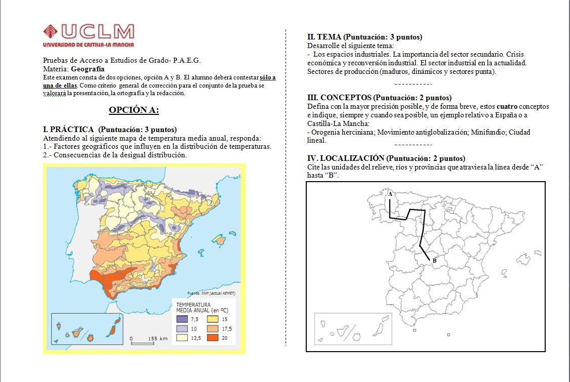Examen Selectividad de Geografía (PAEG-PAU) 2014