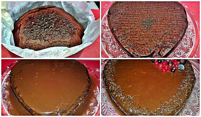 Preparación del corazón de chocolate y nueces