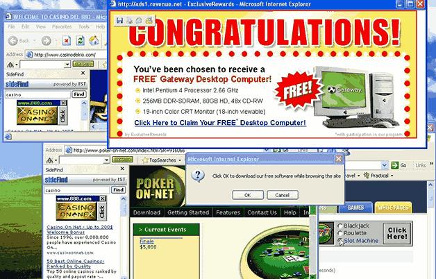 Pubblicità poup browser internet