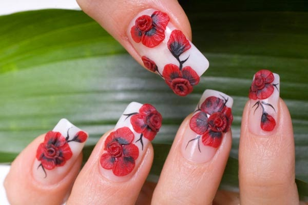 Red Flower Nail Arthttpnails Sidespot