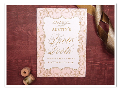 glamorous pink and gold wedding photo booth sign design