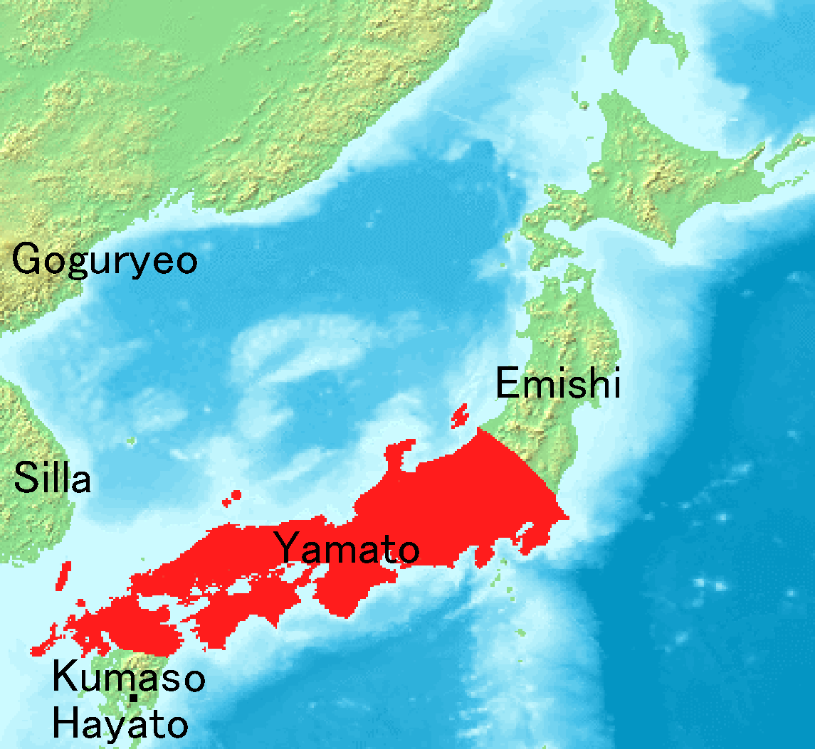 Ancient map of Japan as Yamato in the 7th century.