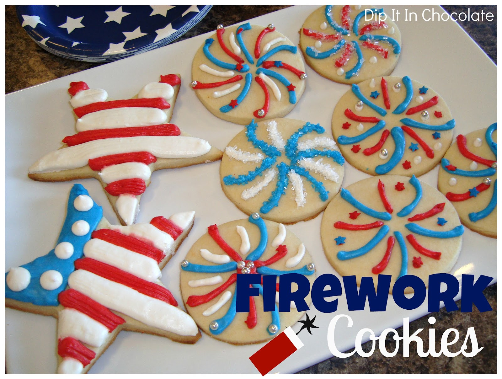 Firework Sugar Cookies {Pipeable Sugar Cookie Frosting} ~ Dip it in ...