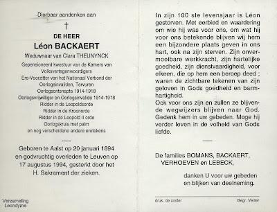 Bidprentje van Eerste Wereldoorlogsveteraan Léon Backaert 1894-1994