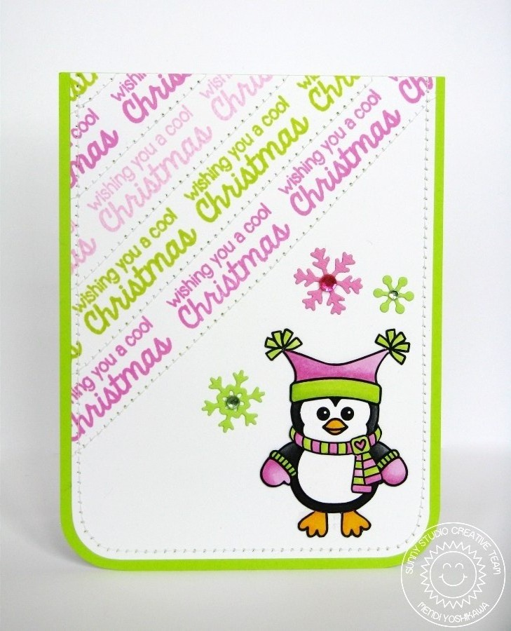 Sunny studio bundled up pink green penguin cool christmas card bundled up pink green penguin cool christmas card m4hsunfo