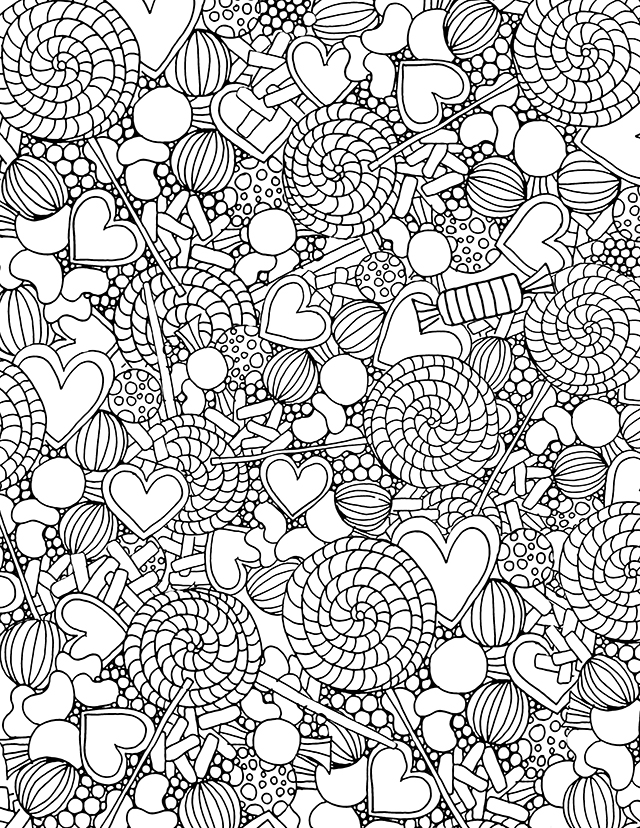 free candy coloring pages - February Coloring Pages