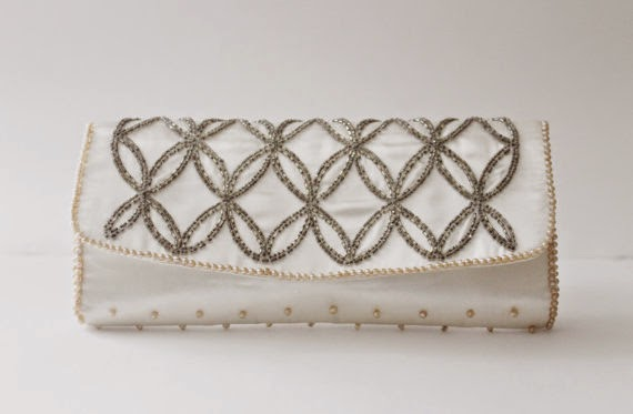 50s white evening bag