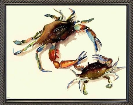 watercolors of crabs