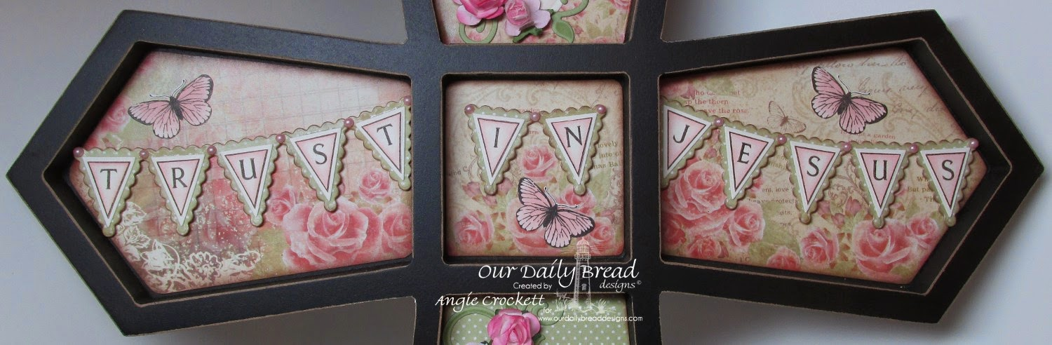 ODBD Pennant Dies, ODBD Beautiful Border Dies, Pennant Alphabet Clear, Butterfly Stamped-By Mini, Blushing Rose Collection, Rustic Beauty Collection, Project Designer Angie Crockett