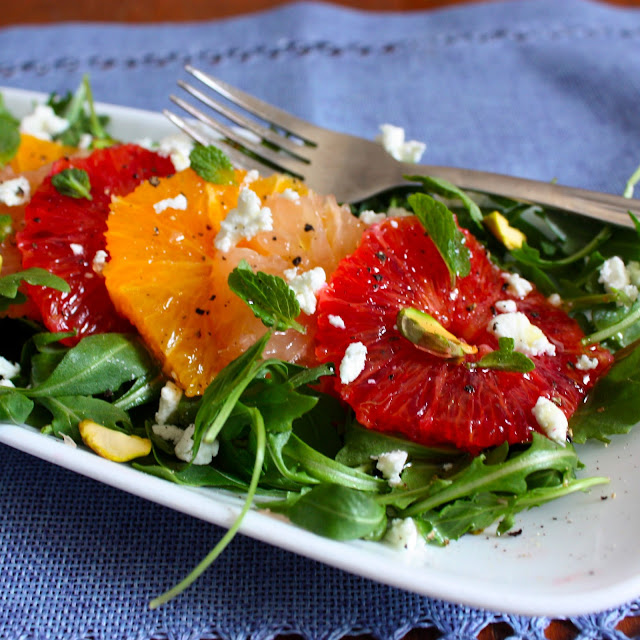 Winter Citrus Salad with Goat Cheese, Pistachios and Mint - Get Off ...