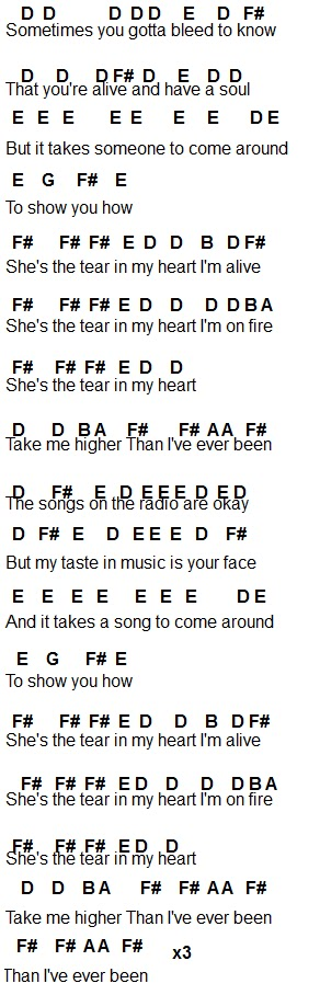 Flute Sheet Music Tear In My Heart