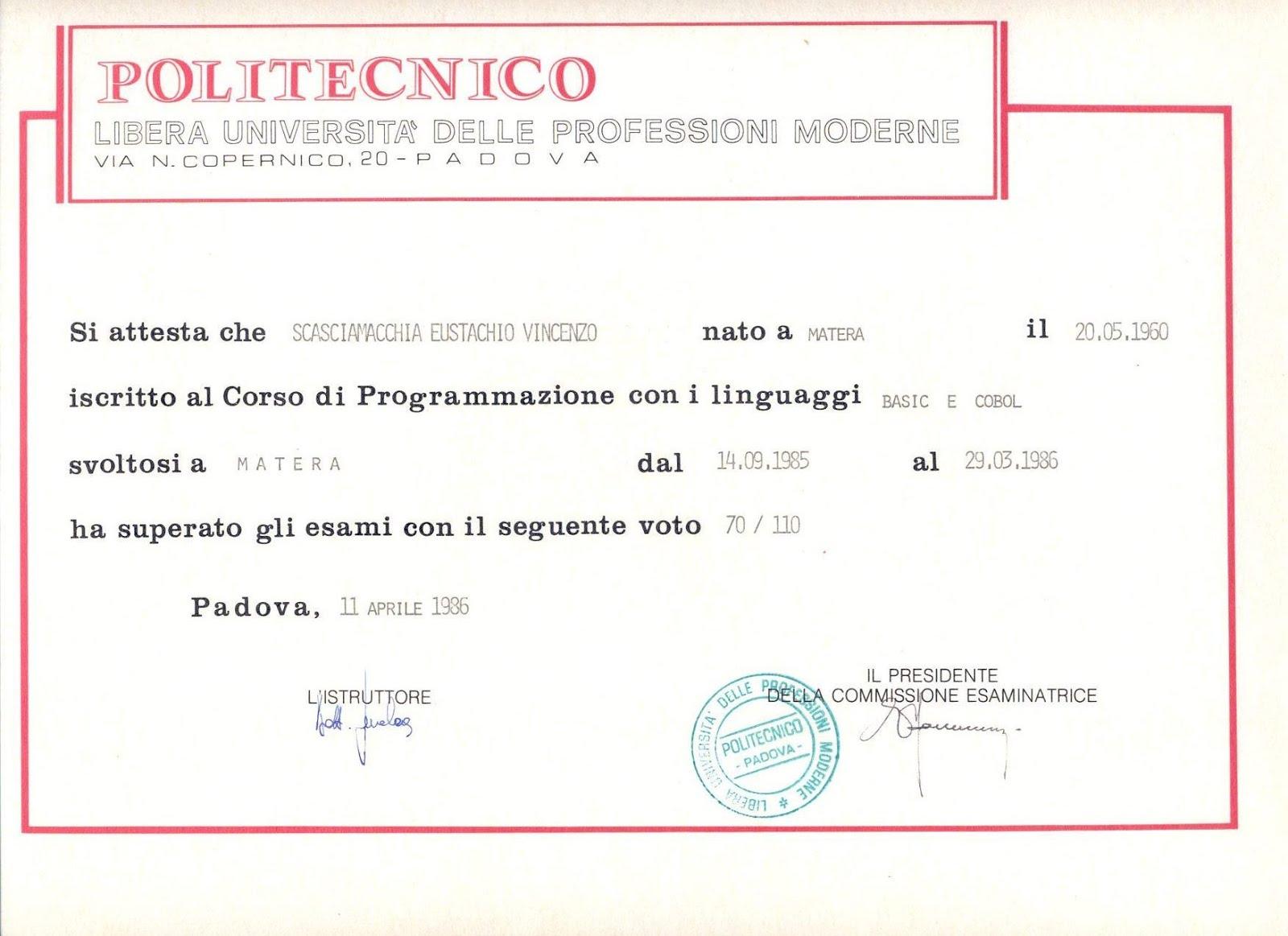 Attestato Primitivo