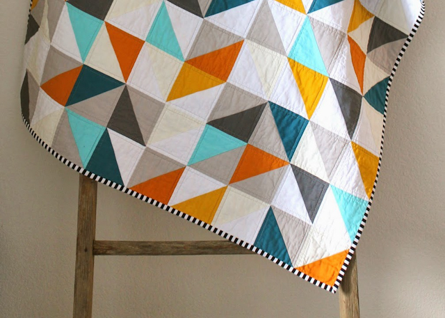 beautiful HST color play quilt by Erica of CB Handmade