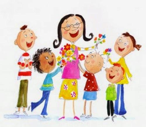 Maestra y niños