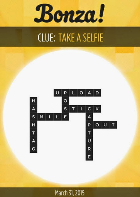 Bonza Daily Word Puzzle Clue Take a Selfie Answers March 31, 2015