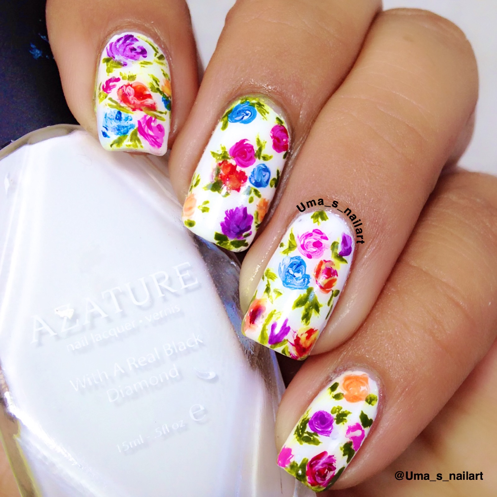 Umas nail art freehand spring flowers nail art there are two things in my life which make me very happy dance and flowers so i chose to do a floral themed nail art for the challenge prinsesfo Images