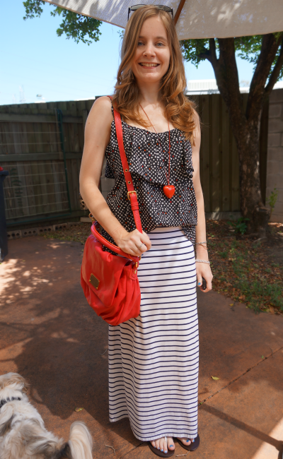 AwayFromBlue Pattern Mixing Polka Dot Cami Striped Maxi Skirt MbMJ Ukita
