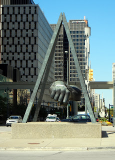 The Detroit Fist statue in downtown Detroit, Michigan