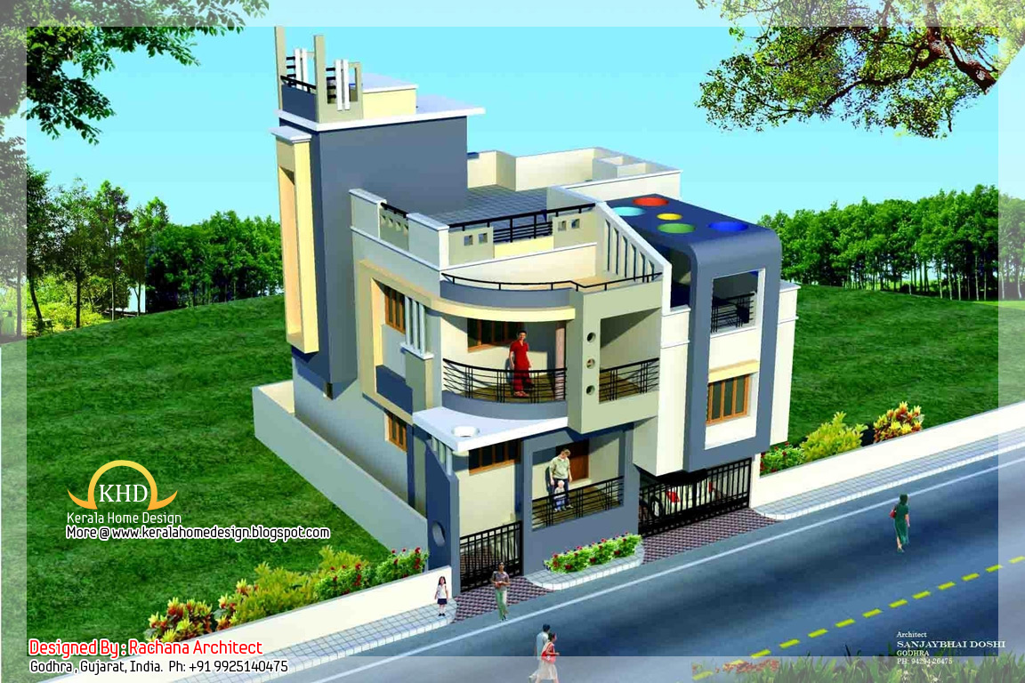 Duplex house plan and elevation 1770 sq ft kerala Small duplex house photos