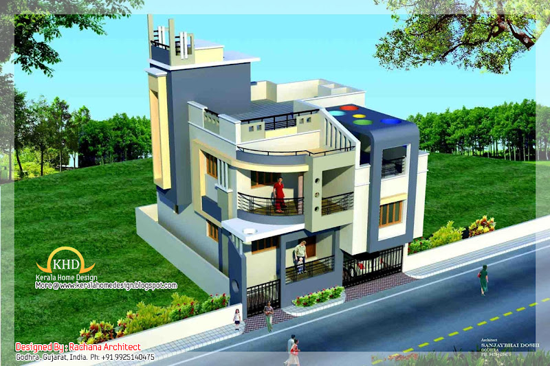 Duplex House Plan and Elevation - 164 Sq M (1770 Sq. Ft.) title=
